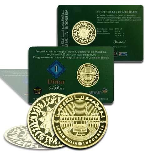 Koin emas dinar dirham yang diproduksi  mulai dari 22 karat hingga 24 karat dengan berat 4.25gram sampai 4.44 gram yang berfungsi untuk investasi, mahar, dan pembayaran zakat