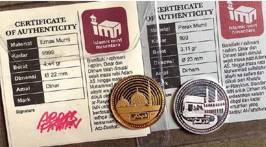 Sertifikat (Certificate of authenticity) koin dinar dari Islamic mint nusantara berbahan material emas murni dengan kadar 99.99 persen berat 4.44 gram dimensi 22milimeter