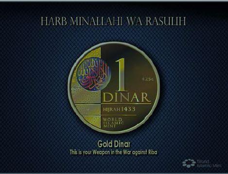 Koin emas dinar atau Gold Dinar keluaran World Islamic mint seharga satu dinar (this is your weapon in the war against Riba)